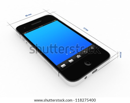 Abstract 3D blueprint drawing of modern mobile phone on white background