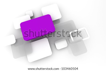 Abstract 3D box render Background Technology purple Color bubble for Text - stock photo