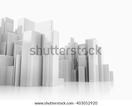Abstract 3d cityscape on white background with reflections - stock photo