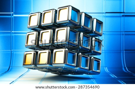 Abstract 3d composite cube structure from metallic blocks on blue square background - stock photo