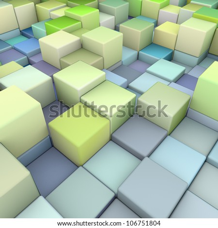abstract 3d cubes backdrop in green and blue - stock photo