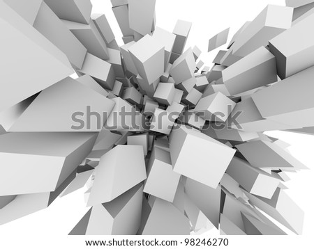 Abstract 3D cubes explode background. - stock photo