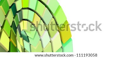 abstract 3d curved cube wave in green yellow - stock photo
