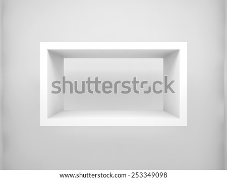 Abstract 3d design element, empty rectangle white shelf with soft shadow on the wall - stock photo
