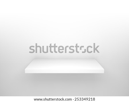 Abstract 3d design element, empty white shelf with soft shadow on the wall - stock photo