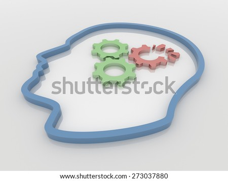 Abstract 3D design of human head with three gears, one broken. Rendered against a white background, with shadows and reflections. - stock photo