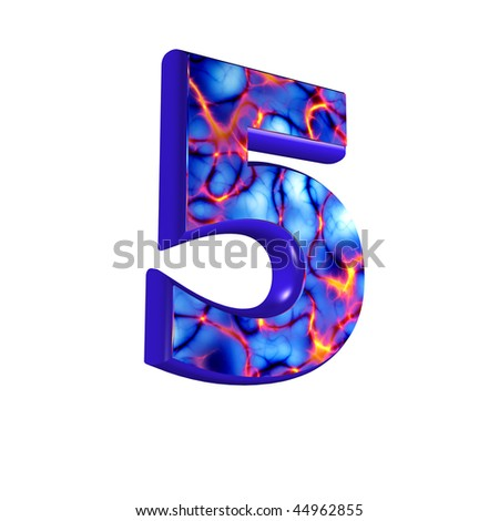 abstract 3d digit with futuristic texture - 5