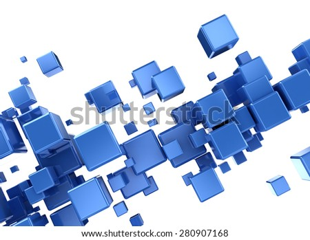 Abstract 3d digital cubes background - stock photo