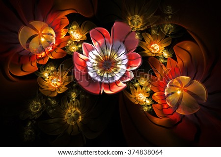 Abstract 3d flowers on black background. Creative fractal design in red, orange, yellow, white and faded violet colors. - stock photo