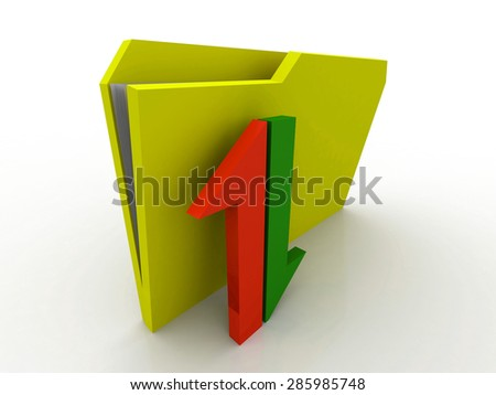 Abstract 3D folder on white background. Download and upload.3D illustration