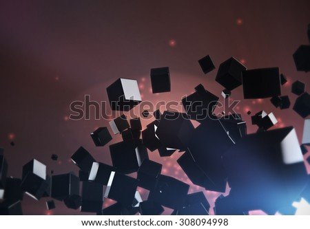 Abstract 3D geometric shape from black cubes on glowing background.