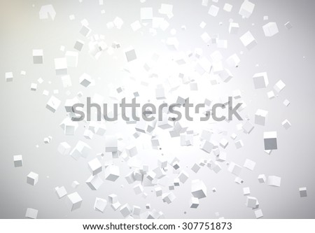Abstract 3D geometric shape from white cubes background.