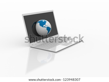 Abstract 3d. Globe on laptop screen.