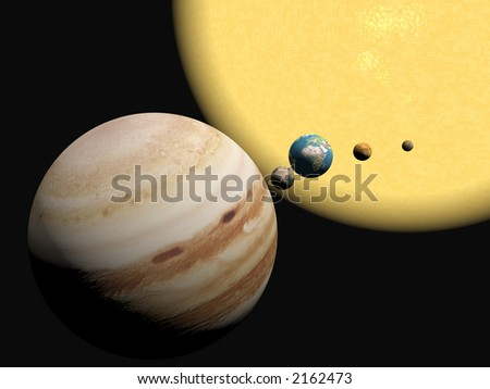 Abstract 3D illustration, background of our solar system.  Exploration concept. Copy space provided. - stock photo