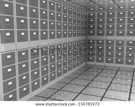 abstract 3d illustration of archive room closed