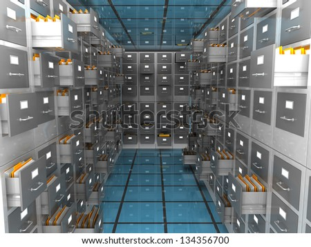abstract 3d illustration of archiver room - stock photo