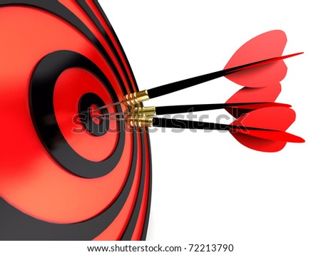 abstract 3d illustration of arrows in target - stock photo