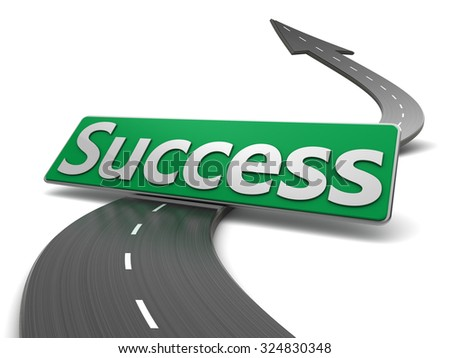 abstract 3d illustration of asphalt road with arrow and success sign - stock photo