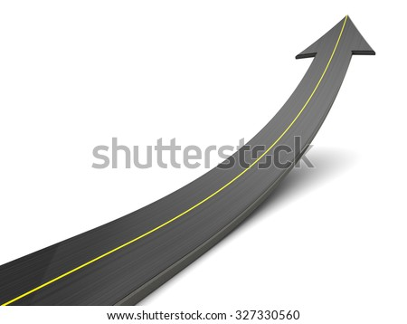 abstract 3d illustration of asphalt road with arrow, over white background - stock photo