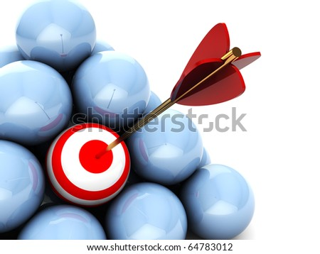abstract 3d illustration of balls with one target and arrow