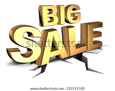 abstract 3d illustration of big sale sign, on ground with crack - stock photo