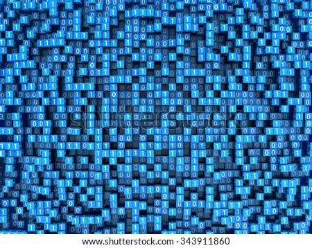 abstract 3d illustration of binary data background - stock photo