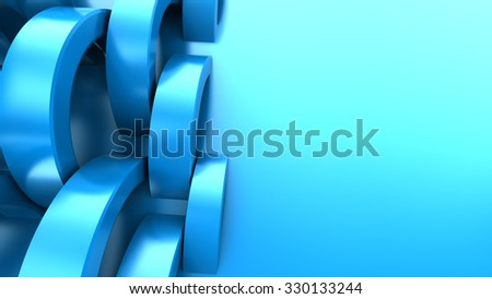 abstract 3d illustration of blue background with rings - stock photo