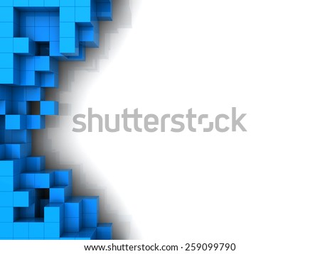 abstract 3d illustration of blue cubes background with copy space - stock photo