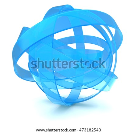abstract 3d illustration of blue sphere over white background