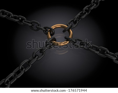abstract 3d illustration of chains connection over dark background - stock photo