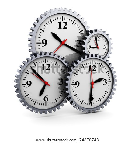 abstract 3d illustration of clocks gear wheels, over white background - stock photo