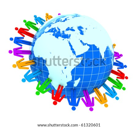 abstract 3d illustration of colorful people around earth