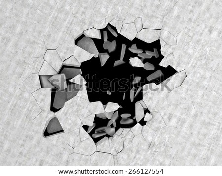 abstract 3d illustration of cracked hole in concrete floor - stock photo