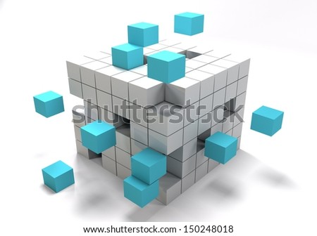 Abstract 3D illustration of cube - stock photo