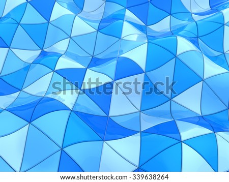 abstract 3d illustration of curved blue triangles background - stock photo