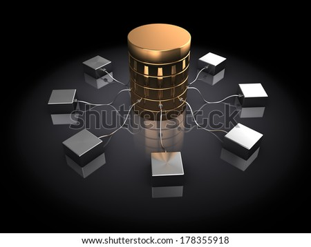 abstract 3d illustration of database server, over black background - stock photo