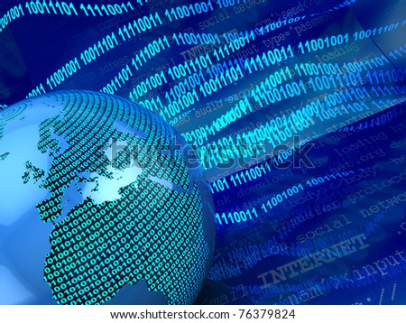 abstract 3d illustration of digital earth background - stock photo
