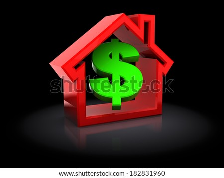 abstract 3d illustration of dollar sign and house, over black background - stock photo