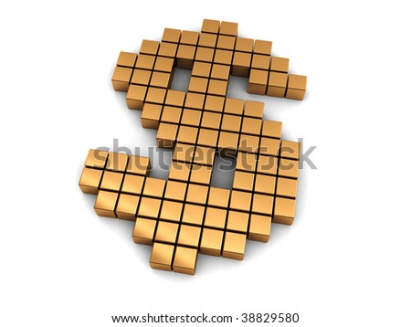 abstract 3d illustration of dollar sign built from golden blocks - stock photo
