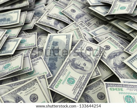 abstract 3d illustration of dollars backgroun - stock photo