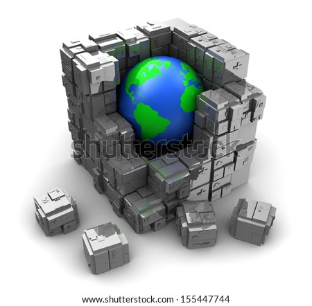 abstract 3d illustration of earth globe with steel blocks