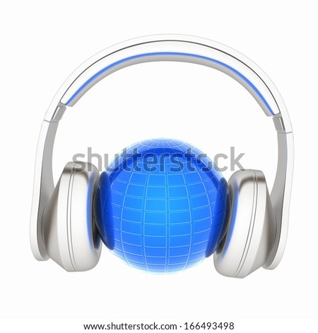 abstract 3d illustration of earth listening music