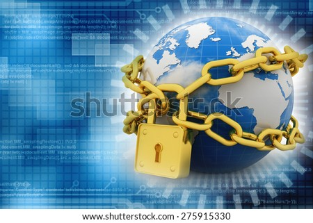 abstract 3d illustration of earth with chains and lock - stock photo