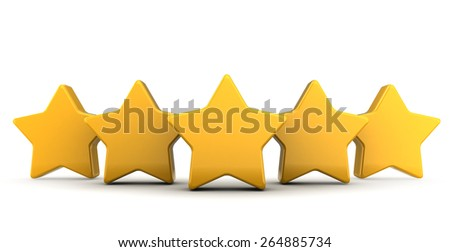 abstract 3d illustration of five stars over white background - stock photo