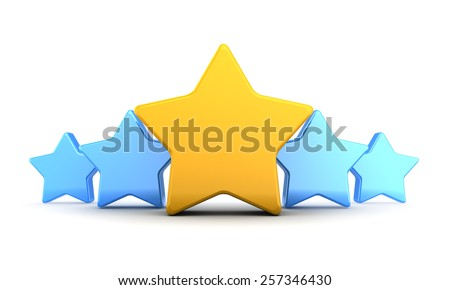 abstract 3d illustration of five stars rating symbol, over white background - stock photo