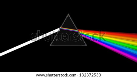 abstract 3d illustration of glass prism with light ray - stock photo