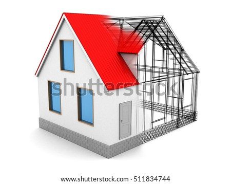 abstract 3d illustration of house design process, over white background