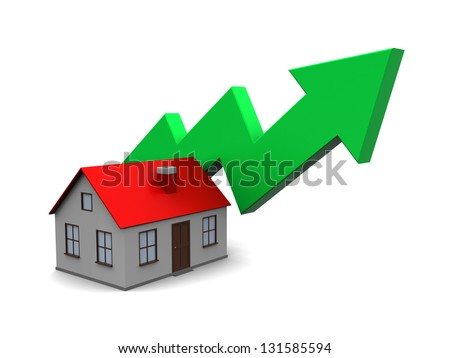 abstract 3d illustration of house with green arrow, real estate price rising concept