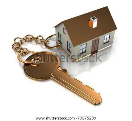abstract 3d illustration of key with house model