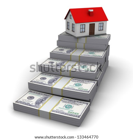 abstract 3d illustration of money stairway to house - stock photo